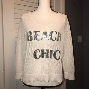 Beach chic white and silver sweater